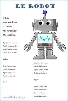 cette semaine on fait des robots c'est maryse qui nous propose ce défi en attendant de vous les montrer oui on a pas fini ... voici une petite chanson sympa que j'ai illustrée... pour apprendre différents modes de déplacement (marcher, sauter, tourner, danser) et aussi une p' tite video pour... Robot Theme, Teaching Music, Preschool Activities, Art Education, Inventions, Children, Kids, Kindergarten, 1