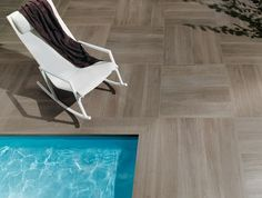 wood tile up to pool and wrap over Ceramic Wood Tile Floor, Wood Tile Floors, Wall And Floor Tiles, Wooden Flooring, Porcelain Tiles, Exterior Tiles, Interior Exterior, Outdoor Tiles, Outdoor Flooring