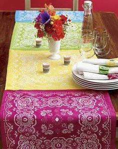 Great idea for table runner for cowgirl birthday