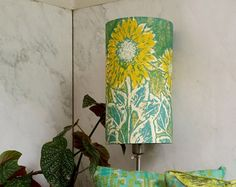 Linen Drum Lamp Shade in Teal Blue Green by BelfastBayShadeCo