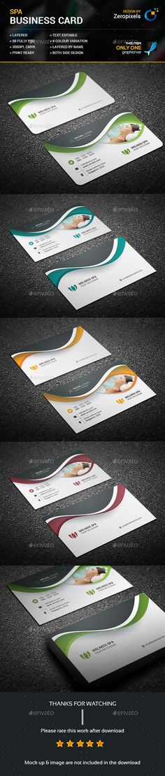 #Beauty & Spa #Business Card - Business #Cards Print Templates Download here: https://graphicriver.net/item/beauty-spa-business-card/17469334?ref=alena994