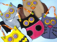 NEW Felt Pouches Toy Sewing Pattern - PDF ePATTERN - Owl, Bat, Cat, Bee and Ladybug. $3.99, via Etsy.