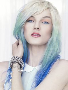 The white dipped into blue and turquoise gives off an Ice Queen vibe.