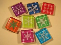 Holiday Decorations Refrigerator Magnets Set of 8 by DLRjewelry