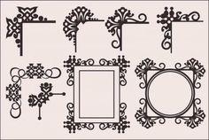 ヨーロピアンスタイルのエレガントな飾り枠(コーナー)ベクターパーツセット(EPS) - Free-Style