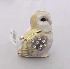 New Trinket Box Gift Crystals Small Barn Owl Animal With Box