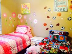 Boy and girl shared rooms with wall decals