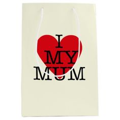 I Love My Mum Mothers Day Red Heart Design Medium Gift Bag - heart gifts love hearts special diy