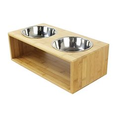 GemPet Premium Bamboo Raised Bowls Stand w/ Stainless Steel Bowls, Elevated Bowls for Small Dogs and Cats, 4'' Tall (w/ 2 bowls)