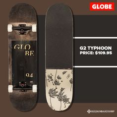 The Typhoon in Black is a GLOBE Classic complete with bearings. It is available in x x It is made of hard rock maple. It has a full concave and Tensor Alloy trucks with hollow kingpin with Conical wheels. Lifted Trucks, Old Trucks, Classic Trucks, Classic Cars, Skate And Destroy, Supra Shoes, Complete Skateboards, Vintage Trucks