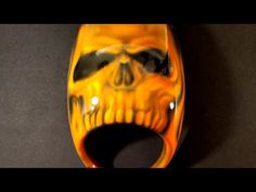 Airbrushed in wicked orange and and clear coated sealed with 4 layers of clear coat by international c. Airbrush Skull, Headlight Covers, Motorcycle Headlight, Paint Shirts, Graffiti Designs, Skull Artwork, Air Brush Painting, Badass Quotes, Custom Paint