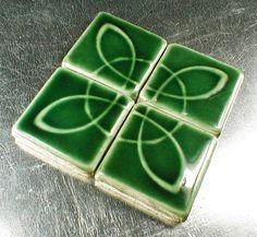 Backsplash tile, fireplace tile, accent tile, 2 x 2 tiles, dark green tile, handmade tile, by CampbellTileworks on Etsy