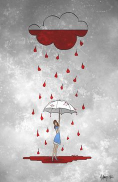 Rainy Day Love Print 8x10 by Alicia VanNoy Call, Love, Umbrella
