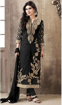 Black Color Cotton Straight Cut Style Stitched Salwar Kameez with Dupatta #casual, #salwar, #kameez, #online, #trendy, #shopping, #latest, #collections, #summer,#shalwar, #hot, #season, #suits, #cheap, #indian, #womens, #dress, #design, #fashion, #boutique, #heenastyle, #clothing, #cotton, #printed, #materials, @heenastyle