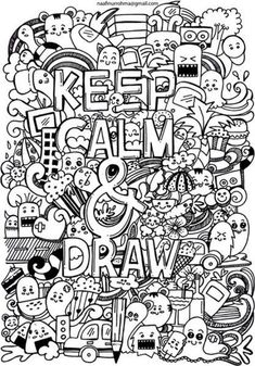 Keep Calm and draw by Naphiy on DeviantArt Cute Doodle Art, Doodle Art Designs, Doodle Art Drawing, Art Drawings Sketches, Kawaii Doodles, Cute Doodles, Griffonnages Kawaii, Doodle Monster, Graffiti Doodles
