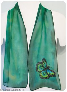 "Hand painted silk scarf. Butterfly silk scarf. Monarch Butterfly scarf. Handmade silk scarf. 8""x52"" chiffon silk. Silk scarves handmade by SirenSilks on Etsy"
