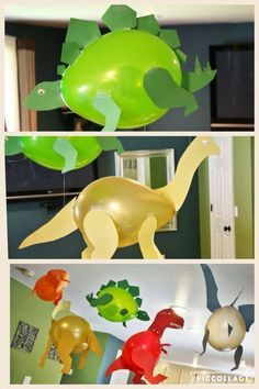 Love these balloons decorated like dinosaurs. Perfect for a kids birthday dinosaur party. Third Birthday, 3rd Birthday Parties, Birthday Party Decorations, Diy Dinosaur Party Decorations, Birthday Ideas, 1st Birthdays, Parties Decorations, Dinosaur Party Activities, 3 Year Old Birthday Party Boy