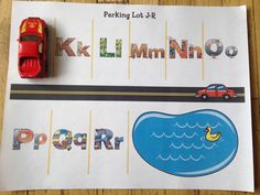 Alphabet Parking Lot! Amazing Action Alphabet has fantastic letter and sound review ideas using their muli sensory teaching method.  See Hear Do Company products are fantastic for Stay at Home Moms (SAHM) or preschool teachers wanting to teach children the easy way! letter | sounds | teaching | preschooler | books | review games | activities #amazingactionalpabet #teachkids #review