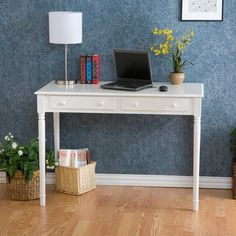 <li>Designed with transitional appeal, the Highland writing desk is the perfect accent to your decor</li><li>Elegant crisp white finish is the ideal accent to your home office</li><li>Writing desk has two deep drawers</li> Home Desk, Home Office Desks, Office Furniture, Office Decor, Office Ideas, White Furniture, Office Nook, Furniture Decor, White Writing Desk