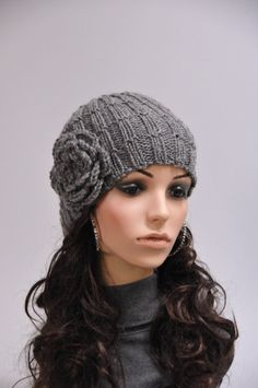Hand knit hat - charcoal beanie with crochet flower