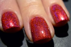 Ben Affleck Is Sheila's Homeboy - Super bright cheery red intense linear holo with red and slight blue flame. Swatch by @lovevarnish.