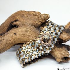 Sleek half tila bracelet design Fran Griffith beaded by me