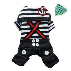 Fashion Nautical Dog Jumpsuit for Dog Shirt Dog Costumes Cozy Dog Clothes + Dog Bandana, Black, L Petparty http://www.amazon.com/dp/B00AFT2040/ref=cm_sw_r_pi_dp_TcAhvb0KSG7PX