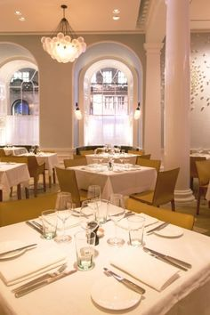 Nulty - Spring, Somerset House, London - Elegant Restaurant Grand Interior Illumination Arched Picture Windows Lighting Design