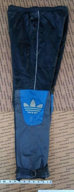 VINTAGE ADIDAS LEATHER PANTS BLACK BLUE WHITE 80S MEN LARGE L 36 KPOP #adidas #HipHop