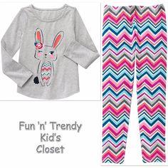 NWT Gymboree MIX N MATCH Girls Sz Medium 7-8 Bunny Tee Shirt Top & Leggings SET #Gymboree #Everyday