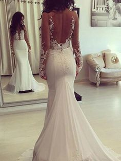 Wonderful Perfect Wedding Dress For The Bride Ideas. Ineffable Perfect Wedding Dress For The Bride Ideas. Open Back Wedding Dress, Wedding Dress Train, Wedding Dress Chiffon, Wedding Dresses 2018, Long Sleeve Wedding, Wedding Dress Sleeves, Perfect Wedding Dress, Cheap Wedding Dress, Bridal Dresses