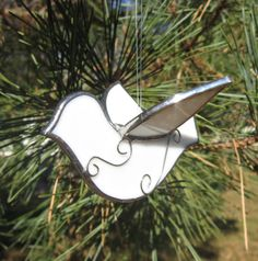 White Dove 3D Stained Glass Suncatcher or Ornament for Christmas Winter Holidays. $10.00, via Etsy.