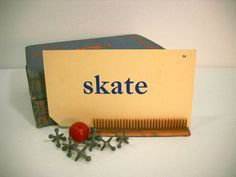Vintage Flash Cards Words and Pictures SKATE by wallstantiques, $3.00