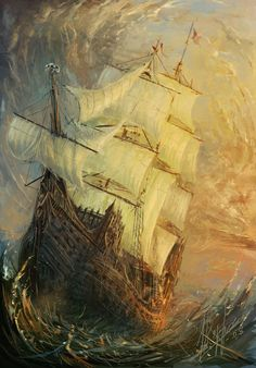 pirate ship in the storm....