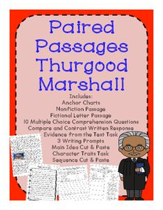Thurgood Marshall Paired Passages for Close Reading and Comprehension Practice - Great for famous American studies or Black History month