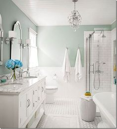 Seafoam   Cottage White   Silver I love this wall color Blue And White Bathroom Bathroom Victorian With Black White  . Black And White Bathrooms Images. Home Design Ideas