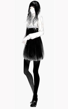 1girl bangs black_hair blunt_bangs full_body hands_clasped high_heels highres original pantyhose sawasawa simple_background smile solo