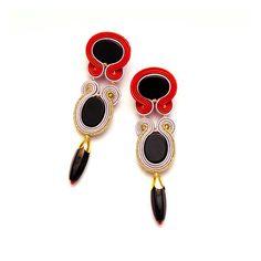 Unique long earrings red, gold, black, grey soutache. Black onyx earrings statement. Dangle earrings clip on/ stud. Gold red bead earrings.