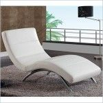 $617.11 Global Furniture - Leather Chaise Lounge in White - R820-R2V-WH