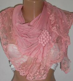 Pink  / Elegance  Shawl / Scarf with Lacy Edge by womann on Etsy, $19.90