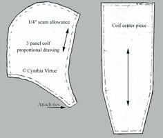 Coif/Bundhaube, verschiedene Varianten inkl. der dreiteiligen Schnitt Variante
