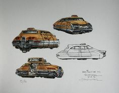 The Fifth Element: 40 Original Concept Art Gallery - Daily Art, Movie Art Classic Sci Fi Movies, New York Taxi, Concept Art Gallery, Luc Besson, Character Design References, Sci Fi Fantasy, French Artists, Retro Design, Disney Art