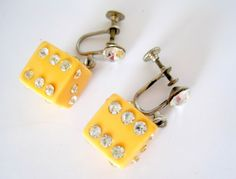 This remarkable bakelite and rhinestone pair of dice earrings is so unique, The dice tested positiv