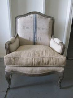 """yellow chair or this...antique chair + recover with drop cloth and paint """"grain sack"""" details"""