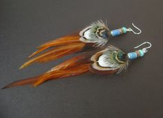 Pheasant feather earrings, real feather jewelry