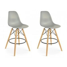 Set of 2 Eames Style DSW Molded Gray Plastic Bar Stool with Wood Eiffel Legs