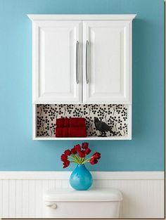 wallpaper idea #bathroom #decor Do between open shelves & medicine cabinet.