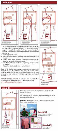 Cómo hacer blusa sin pinzas trazado de patron o molde de costura