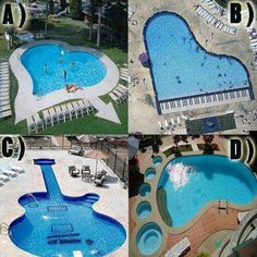 very creative swimming pool shapes Amazing Swimming Pools, Swimming Pool Designs, Awesome Pools, Nice Pools, Small Pools, Crazy Pool, Pool Shapes, Outdoor Pool, Outdoor Decor