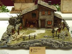 Nativity Stable, Nativity Crafts, Christmas Nativity, Christmas Crafts, Christmas Village Sets, Christmas Tree Decorations, Swiss House, Fairy Garden Furniture, Medieval Houses